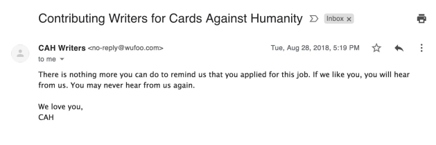 Cards Against Humanity rejection